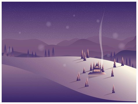 Vector illustration of minimal winter night scene background.A lonely cabin in the mountain.With noise and grainy texture.