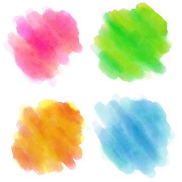 水彩,手書き,セット,背景,素材,色,ピンク,グリーン,緑,黄色,イエロー,青, ブルー
