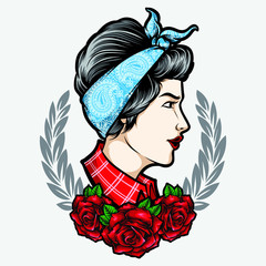 rockabilly girl with ornament vector
