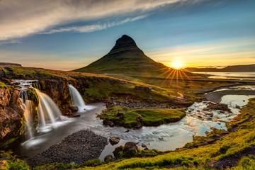 Wall Murals Waterfalls Kirkjufell Mountain and waterfall at sunrise in Iceland