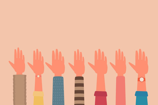 human hand raised up for teamwork unity concept, business, volunteer, cultural diversity. flat vector cartoon illustration