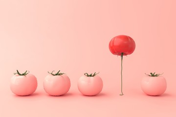 Different concept idea. Red tomatoes floating among pink tomatoes. Stand out from the crowd minimal concept. 3D illustrations.