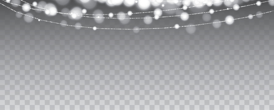 Christmas party lights hanging isolated on transparent background. Use for cover, design element, banner.