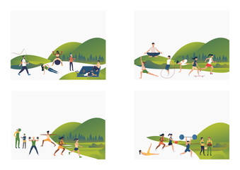 Set of images of people actively doing sport and resting outdoor. Vector illustration. Activity, leisure, relaxation. Sport and recreation concept for banner, website design or landing web page