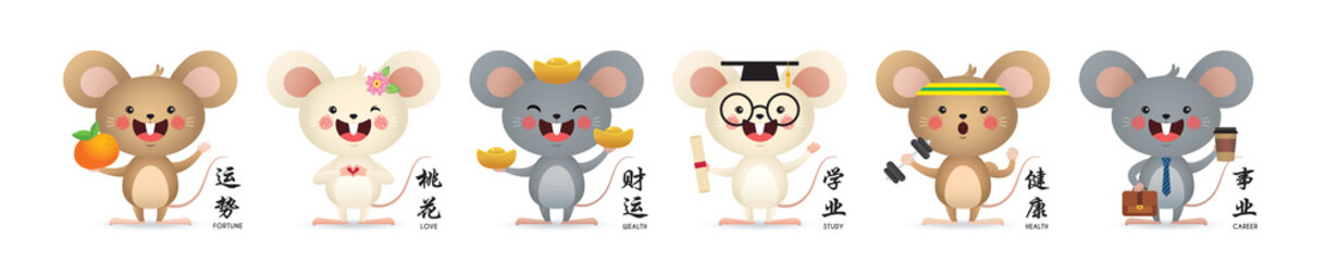 2020 Chinese new year - Year of the Rat. Set of cute cartoon mouse in different color & pose isolated on white background. (Caption: fortune, love, wealth, study, health and career)