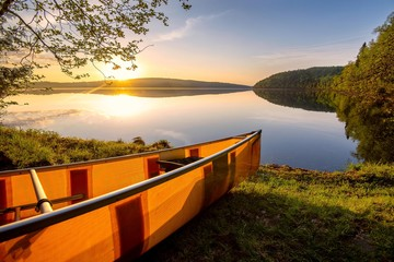 Canoe on the shore of the Boundary Waters in northern Minnesota