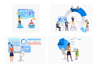 Set of people analyzing financial data diagrams. Flat vector illustrations of workers of examining data. Business concept for banner, website design or landing web page