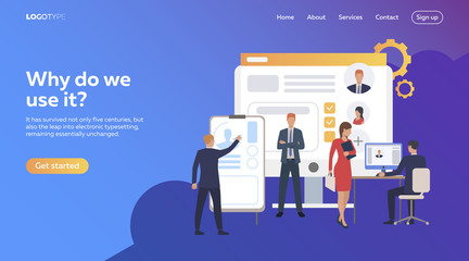 Business people picking up staff of potential workers. Development, optimization, teamwork. Flat illustration. Recruitment concept for banner, website design or landing web page