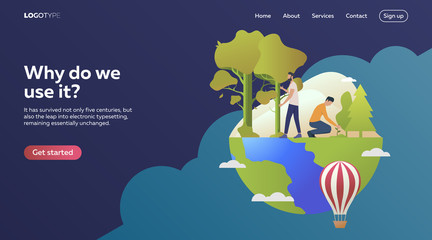 People-gardeners planting trees. Flat vector illustration. Environment, development, protection. Ecology concept for banner, website design or landing web page