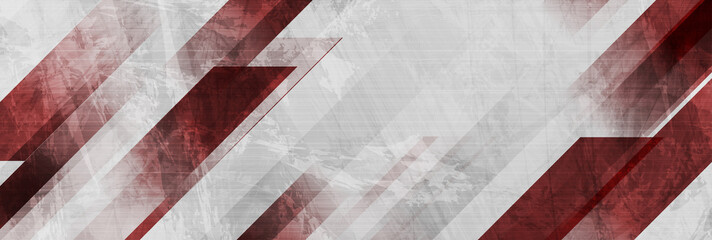 Dark red and grey grunge stripes abstract banner design. Geometric tech vector background Fotomurales