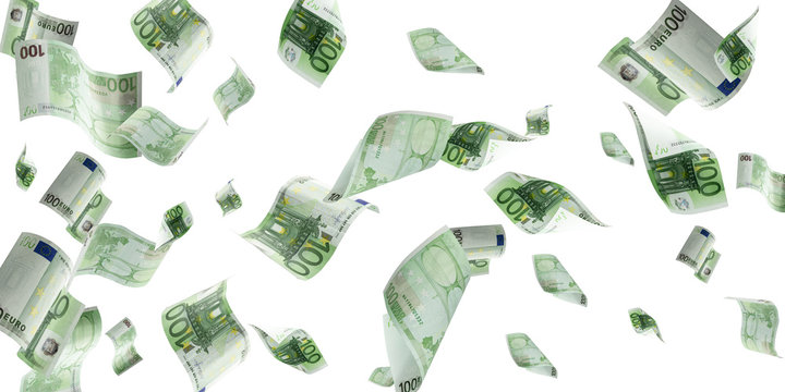 Euro money background. Banknote falling isolated textures on white background.
