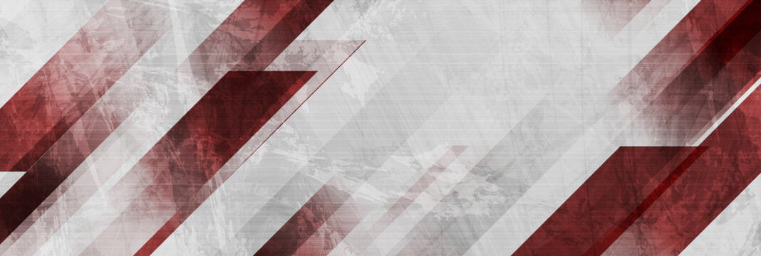 Dark red and grey grunge stripes abstract banner design. Geometric tech vector background