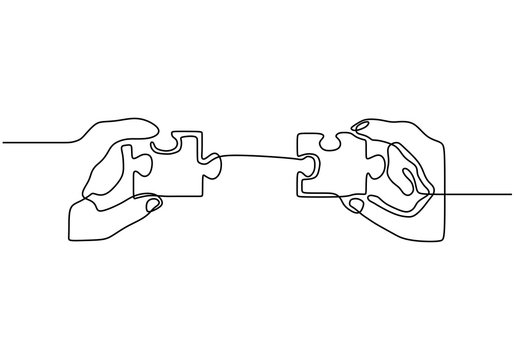 One line drawing of connecting puzzle. Continuous hand drawn single lineart of business metaphor of strategy and solution. Vector illustration creative concept.
