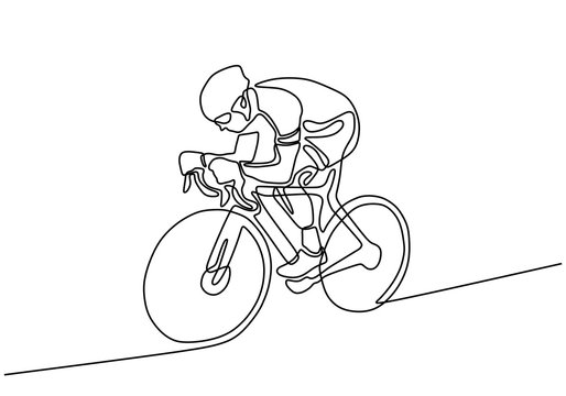 cyclist continuous line drawing. Vector athlete riding a bicycle or bike during sport game.