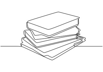 Stack of books one line drawing vector minimalism and simplicity. Symbol of study and education theme design.