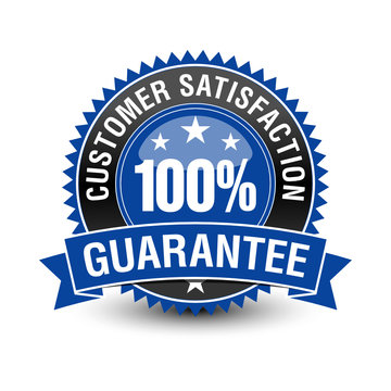 100 customer satisfaction guarantee badge with blue ribbon on top