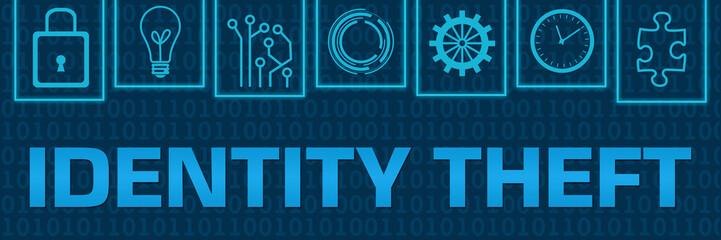 Identity Theft Blue Neon Binary Symbols On Top Horizontal