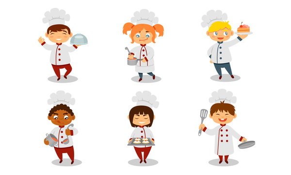 Children in the uniform of a cook. Vector illustration on a white background.