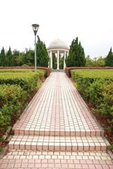 White rotunda in public park in Yiwu city, Zhejiang province, China.