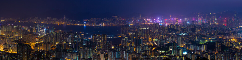 Wall Mural - panorama view of Night of Kowloon, residential and downtown area, Hong Kong