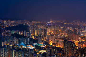 Wall Mural - Epic Night of Kowloon, residential and downtown area, Hong Kong