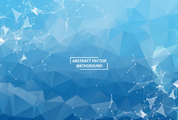 Blue Polygonal background molecule and communication. Connected lines with dots. Minimalism chaotic illustration background. Concept of the science, chemistry, biology, medicine, technology. Wall mural