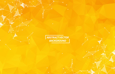 Abstract Geometric Yellow Polygonal background molecule and communication. Connected lines with dots. Concept of the science, chemistry, biology, medicine, technology. - fototapety na wymiar