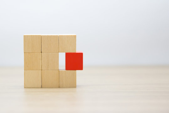 Wooden blocks toy stacked with out graphic.