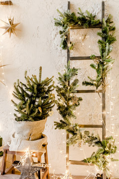 Christmas, New Year decor with a Christmas tree in a pot, fir branches and burning garlands. Traditional winter holidays Christmas / New Year.