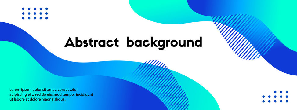 Vector abstract long banner. Blue gradient liquid fluid shapes and text. Background for social media cover