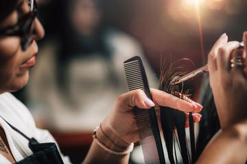 Cutting Hair in Beauty Salon