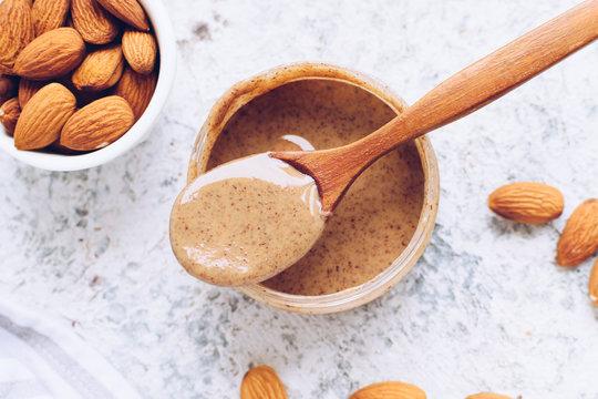 Almond nut butter in glass jar