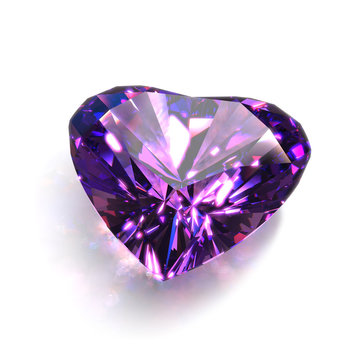 Large Sparkling Heart Shape Cut Crystal of Purple Amethyst Close-Up. 3D Illustration Isolated on White Background.