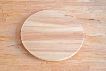 Blank Turning Cheese or pizza tray on wonden table