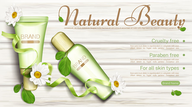 Natural cosmetics bottles with chamomile top view mock up banner. Cruelty and paraben free beauty product cream and lotion tubes for all skins types. Eco cosmetic. Realistic 3d vector illustration
