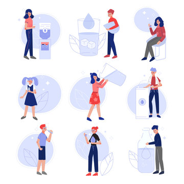 Men, Women and Kids Drinking Fresh Clean Water to Keep Body Healthy Set Vector Illustration