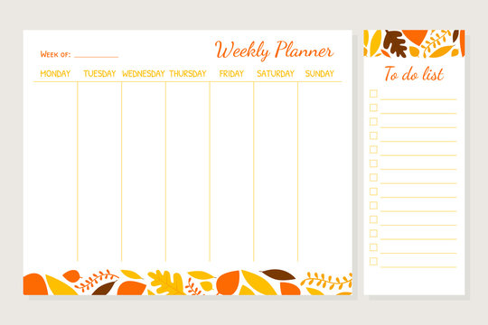 Weekly Planner Template, Organizer and Schedule with Place for Notes and To Do List Vector Illustration