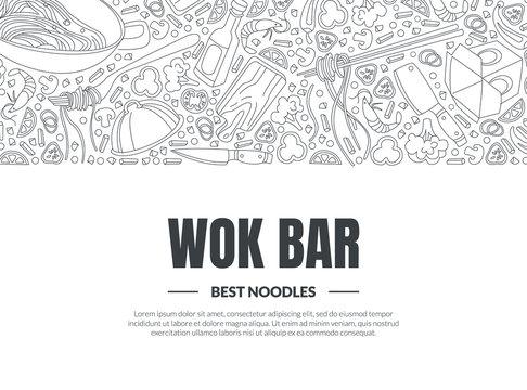 Work Bar, Best Noodles Banner Template, Asian Cuisine Design Element Can Be Used for Menu, Cafe, Restaurant, Bar or Food Festival Monochrome Hand Drawn Vector Illustration