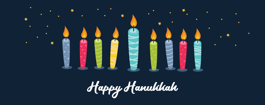 Greeting card for jewish holiday of Hanukkah. Colorful candles on night background. vector illustraation