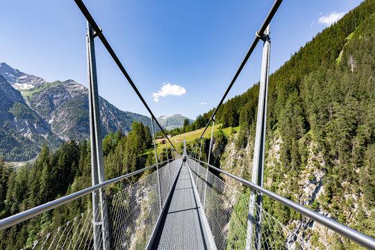 suspension bridge in Holzgau on the Lechweg in Austria