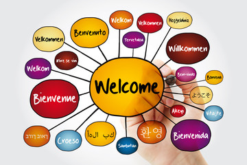 WELCOME in different languages mind map with marker, education business concept for presentations...