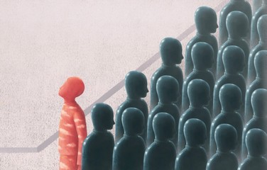 Unique and freedom concept surreal painting illustration, red man looking at the sky in crowd, contrast, leadership Wall mural