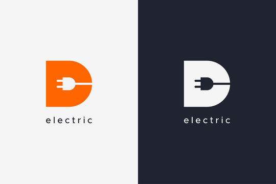 Simple Letter D Electricity Logo Concept Design Template isolated on white and black background. Flat Vector Illustration.