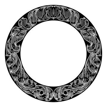 A laurel leaf filigree crest floral Frame pattern motif woodcut graphic design element.