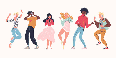 Young stylish people listening to music in headphones and earphones isolated. Multiethnic group. Boys and girls smiling, dancing, jogging, walking. Flat cartoon style. Vector illustration.