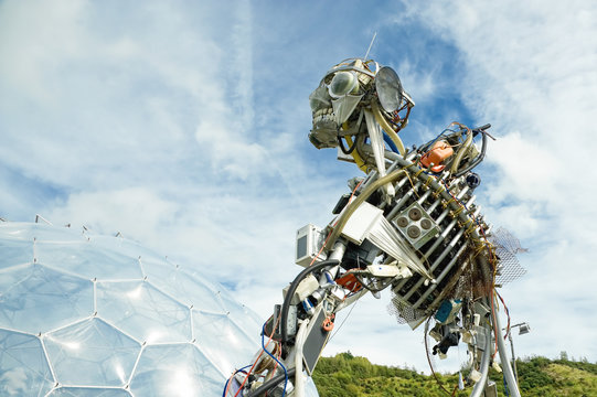The WEEE Man, the waste electrical and electronic equipment robot sculpture on display at the Eden Project in St Austell, UK - 15 September, 2011