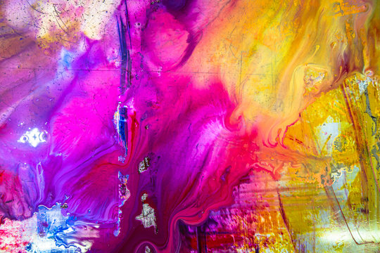 colorful of wet printing ink on printing plate