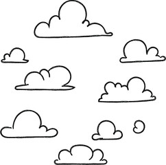 cloud cartoon hand drawn set Cloud signs, Sky symbols. background. Vector illustration