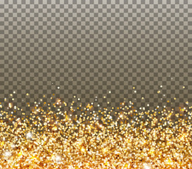 Gold glitter particles and light effect sparks isolated on transparent background. Vector glow golden shimmer confetti texture for Christmas, New Year luxury card design.