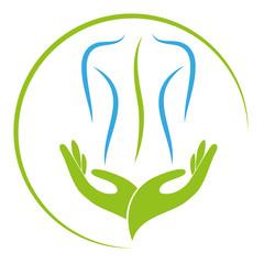 Zwei Hände und Person, Orthopädie und Massage Logo, Icon